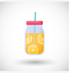 orange juice in mason jar flat icon vector image vector image