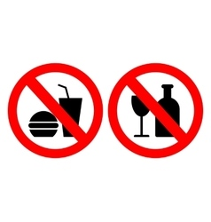 Set of icons forbidding food vector