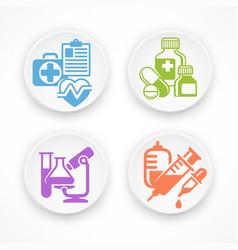 set of medicine circle icons vector image vector image