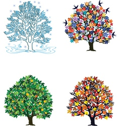 4 seasons over white vector image vector image