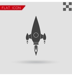 black Rocket icon Flat Style with red vector image