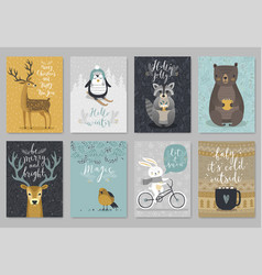 christmas animals card set hand drawn style vector image vector image