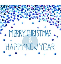 Christmas background with watercolor blue dots vector image