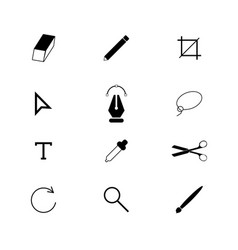 designer tools set icons vector image vector image