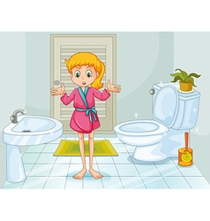 Girl standing in clean bathroom vector image vector image