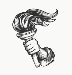 human hand with torch engraving vector image vector image