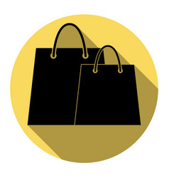 shopping bags sign flat black icon with vector image vector image