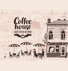 urban landscape with street cafes and love couple vector image vector image