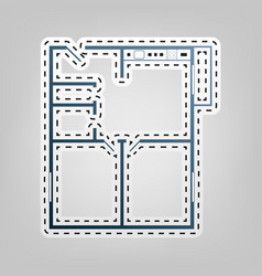 apartment house floor plans blue icon vector image vector image