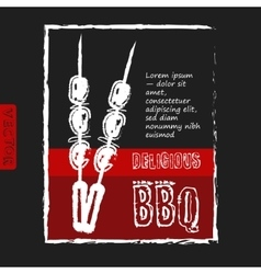 BBQ poster stylized like sketch drawing on the vector image