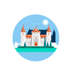 fairytale castle isolated on white fairy white vector image