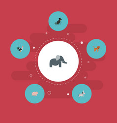 flat icons hound jackass rooster and other vector image vector image