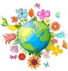 flowering planet vector image