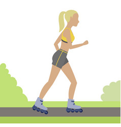 girl on roller skates vector image