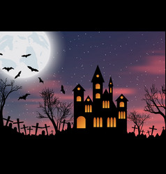 halloween background with castle bats and moon vector image vector image