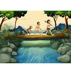 The evolution of man at the river vector image vector image