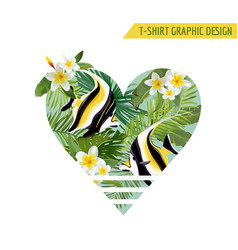 tropical fish and flowers with leaves banner vector image vector image