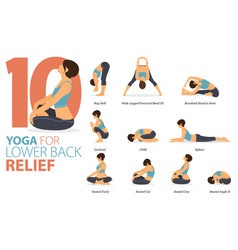 10 yoga poses for workout in lower back concept vector