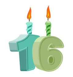 16 years birthday number with festive candle for vector