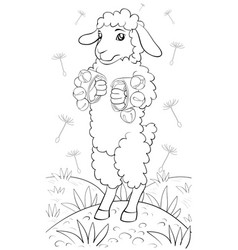 a children coloring bookpage a cute playing sheep vector image