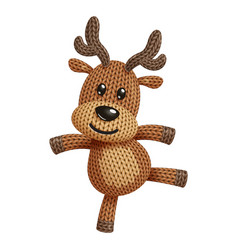 A funny knitted reindeer toy dancing on white vector