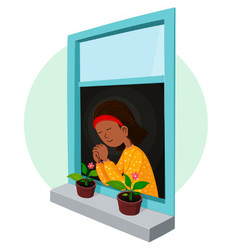 African girl praying vector