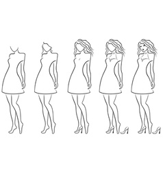 Alluring women contour in hand drawing sequence vector image