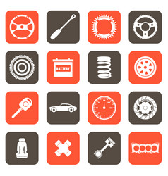 automobile parts related icons vector image