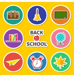 Back to school round set icon vector