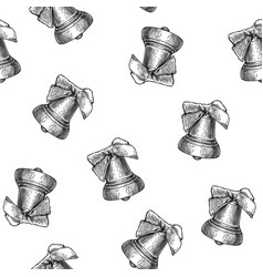 bell seamless pattern isolated on white background vector image