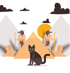 black cat and elements ancient egypt culture vector image