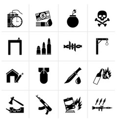 Black terrorism and gangster equipment icons vector