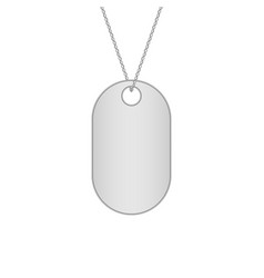 Blank metal tags hanging on a chain military dog vector