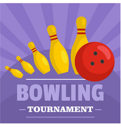 bowling tournament icon flat style vector image