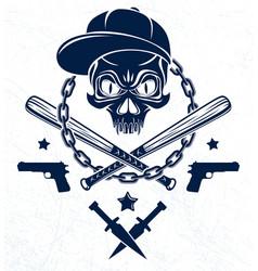 Brutal gangster emblem or logo with aggressive vector
