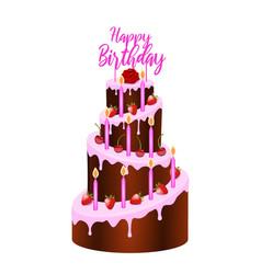 cake birthday with writing happy birthday vector image