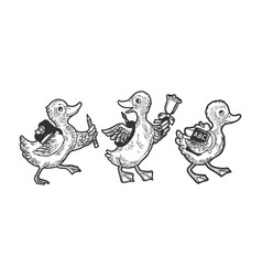 cartoon ducklings scholars sketch vector image
