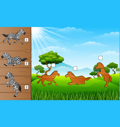 cartoon happy zebra collections find the correct vector image