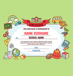 Cartoon school certificate vector