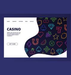 casino landing page gambling web banner vector image