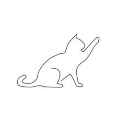 cat one line drawing on white vector image