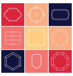 Contour label 9 elements vector image