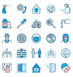 coronavirus virus prevention icons set or design vector image