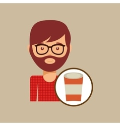 Cup coffee hipster man face icon vector