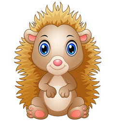 Cute baby hedgehog sitting isolated on white backg vector