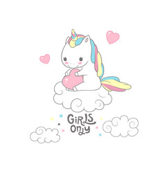 cute baby unicorn girls only typography poster vector image