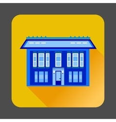Cute blue house icon flat style vector