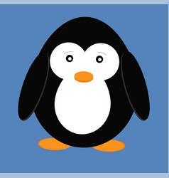 cute cartoon penguin isolated on blue background vector image