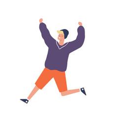 cute hipster teenager running having fun vector image
