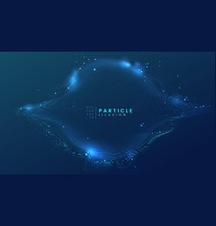 Dark blue abstract particle dynamic background vector